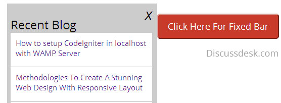 How to show hide or open close fixed sidebar on click in Jquery