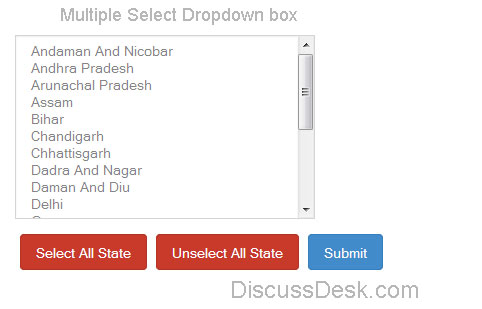 Multiple Select drop down list option in PHP, Mysql, Jquery